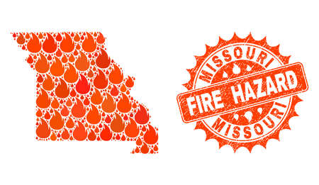 Fire hazard composition of map of Missouri State burning and textured seal. Map of Missouri State vector collage designed for fire insurance illustrations.