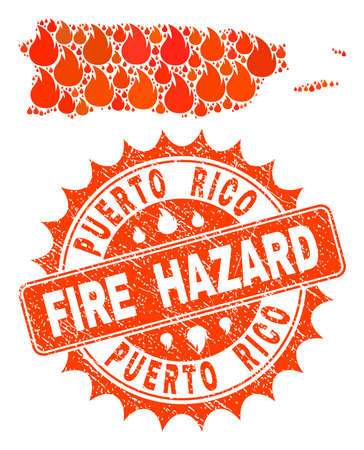 Fire hazard collage of map of Puerto Rico burning and dirty stamp. Map of Puerto Rico vector collage formed for fire insurance illustrations.