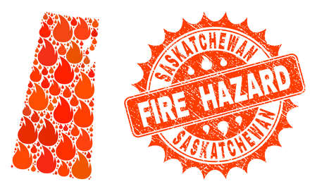Fire hazard collage of map of Saskatchewan Province burning and unclean stamp. Map of Saskatchewan Province vector collage designed for fire insurance illustrations.