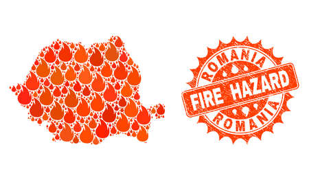 Fire hazard combination of map of Romania burning and scratched seal. Map of Romania vector collage designed for fire insurance templates. Mosaic map of Romania designed with orange flame items.