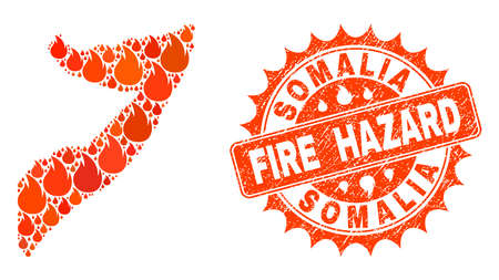 Fire hazard collage of map of Somalia burning and corroded stamp. Map of Somalia vector collage created for fire insurance posters. Mosaic map of Somalia constructed with orange flame items.