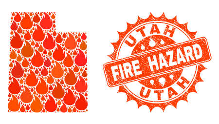 Fire hazard collage of map of Utah State burning and grunge stamp seal. Map of Utah State vector collage designed for fire insurance posters. Mosaic map of Utah State designed with orange flame items.