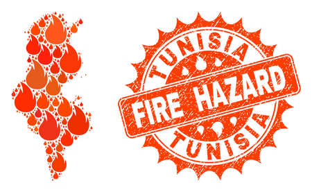 Fire hazard collage of map of Tunisia burning and scratched stamp. Map of Tunisia vector collage formed for fire insurance purposes. Mosaic map of Tunisia constructed with orange flame items. 일러스트