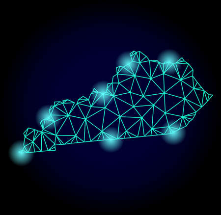 Glossy polygonal mesh map of Kentucky State with glow effect. Abstract mesh lines, triangles, light spots and points on dark background with map of Kentucky State. Stock Photo