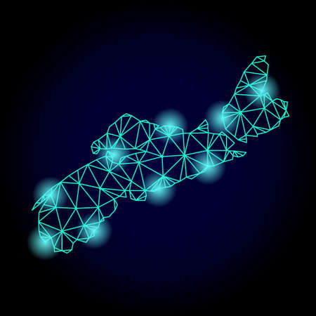 Glossy polygonal mesh map of Nova Scotia Province with glow effect. Abstract mesh lines, triangles, light spots and points on dark background with map of Nova Scotia Province. Stock Photo