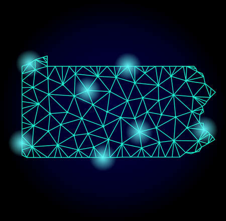 Glossy polygonal mesh map of Pennsylvania State with glare effect. Abstract mesh lines, triangles, light spots and points on dark background with map of Pennsylvania State.