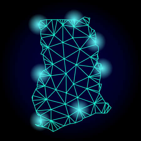 Glossy polygonal mesh map of Ghana with glow effect. Abstract mesh lines, triangles, light spots and points on dark background with map of Ghana.