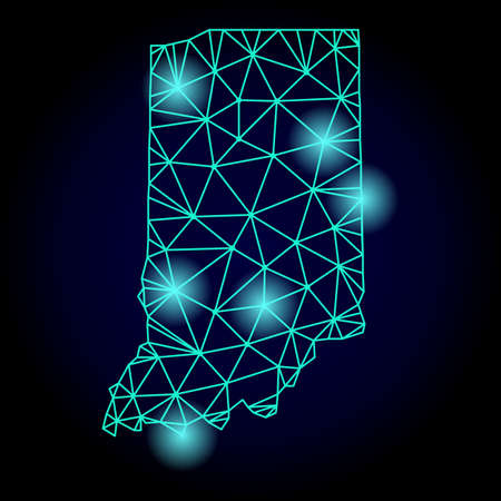 Glossy polygonal mesh map of Indiana State with glare effect. Abstract mesh lines, triangles, light spots and points on dark background with map of Indiana State. Stock Photo
