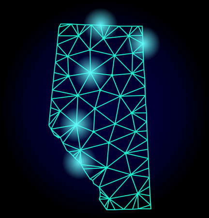 Glossy polygonal mesh map of Alberta Province with glare effect. Abstract mesh lines, triangles, light spots and points on dark background with map of Alberta Province.