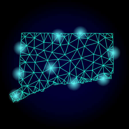Glossy polygonal mesh map of Connecticut State with glow effect. Abstract mesh lines, triangles, light spots and points on dark background with map of Connecticut State.
