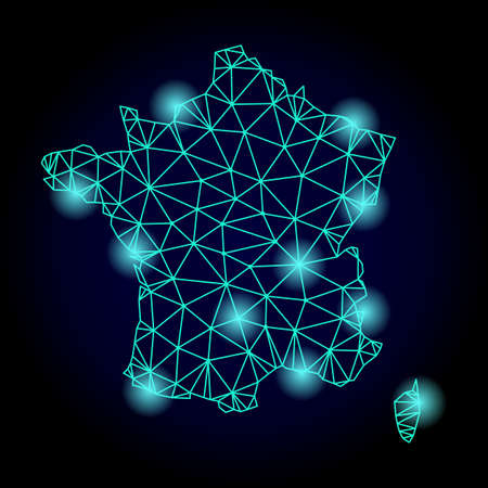 Glossy polygonal mesh map of France with glow effect. Abstract mesh lines, triangles, light spots and points on dark background with map of France.