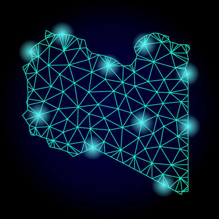 Glossy polygonal mesh map of Libya with glare effect. Abstract mesh lines, triangles, light spots and points on dark background with map of Libya.