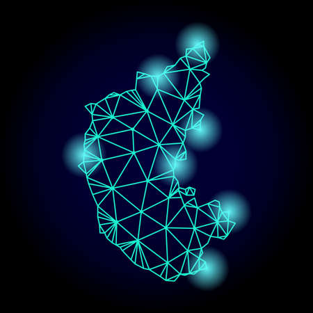 Glossy polygonal mesh map of Karnataka State with glare effect. Abstract mesh lines, triangles, light spots and points on dark background with map of Karnataka State.