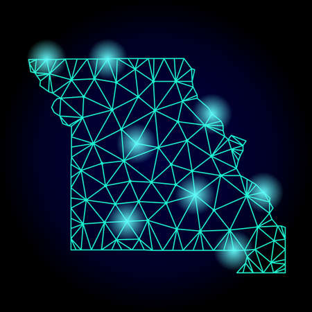 Glossy polygonal mesh map of Missouri State with glow effect. Abstract mesh lines, triangles, light spots and points on dark background with map of Missouri State. Ilustração