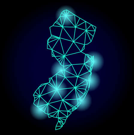 Glossy polygonal mesh map of New Jersey State with glow effect. Abstract mesh lines, triangles, light spots and points on dark background with map of New Jersey State. Illustration