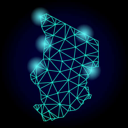 Glossy polygonal mesh map of Chad with glare effect. Abstract mesh lines, triangles, light spots and points on dark background with map of Chad.