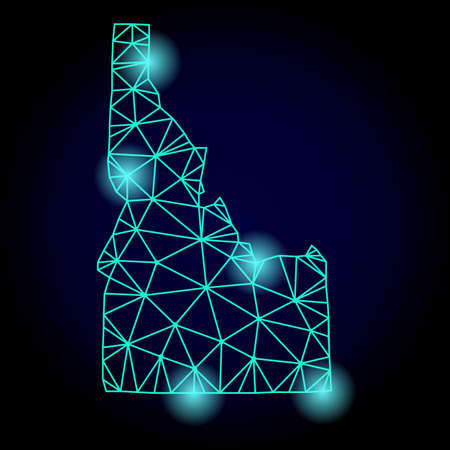 Glossy polygonal mesh map of Idaho State with glow effect. Abstract mesh lines, triangles, light spots and points on dark background with map of Idaho State.