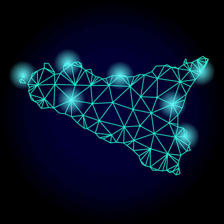 Glossy polygonal mesh map of Sicilia Island with glow effect. Abstract mesh lines, triangles, light spots and points on dark background with map of Sicilia Island.