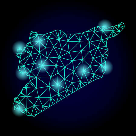 Glossy polygonal mesh map of Syria with glow effect. Abstract mesh lines, triangles, light spots and points on dark background with map of Syria.