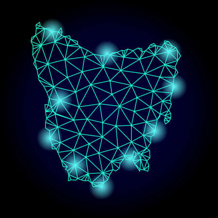 Glossy polygonal mesh map of Tasmania Island with glow effect. Abstract mesh lines, triangles, light spots and points on dark background with map of Tasmania Island.