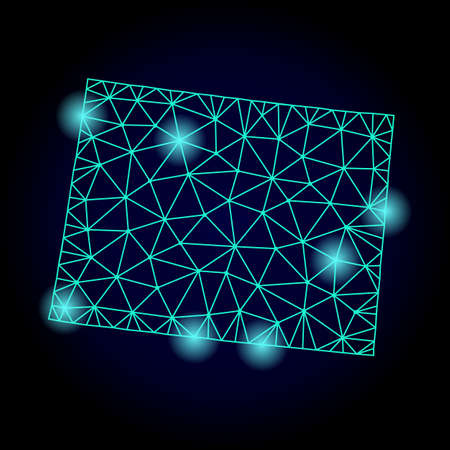 Glossy polygonal mesh map of Wyoming State with glow effect. Abstract mesh lines, triangles, light spots and points on dark background with map of Wyoming State.