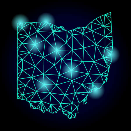 Glossy polygonal mesh map of Ohio State with glow effect. Abstract mesh lines, triangles, light spots and points on dark background with map of Ohio State.