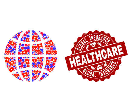 Healthcare composition of bright medical mosaic globe and corroded seal stamp. Vector red watermark with corroded rubber texture and Healthcare caption.  イラスト・ベクター素材