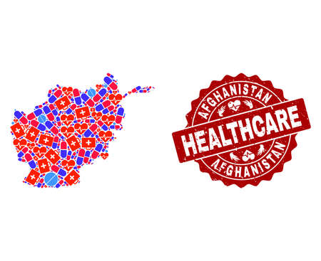 Healthcare combination of bright medical mosaic map of Afghanistan and rubber seal. Vector red seal with distress rubber texture and Healthcare caption.  イラスト・ベクター素材