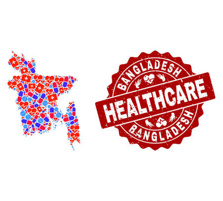 Healthcare composition of bright medical mosaic map of Bangladesh and corroded seal. Vector red seal with grunge rubber texture and Healthcare caption.