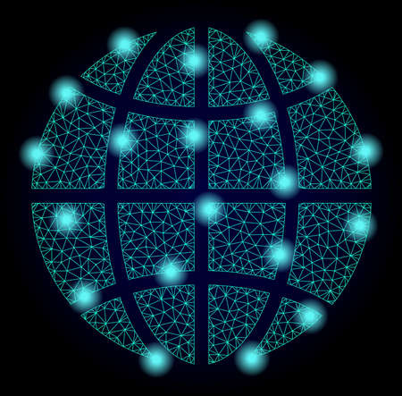 Mesh vector globe with glare effect. Abstract lines, triangles, light spots and points on dark background with globe. Mesh and glare elements are placed on different layers.