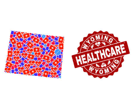 Healthcare combination of bright medical mosaic map of Wyoming State and scratched stamp. Vector red seal with scratched rubber texture and Healthcare caption.