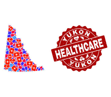 Healthcare composition of bright medical mosaic map of Yukon Province and rubber seal. Vector red seal with distress rubber texture and Healthcare caption. Illustration