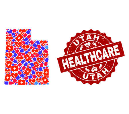 Healthcare combination of bright medical mosaic map of Utah State and grunge seal. Vector red seal with unclean rubber texture and Healthcare caption.