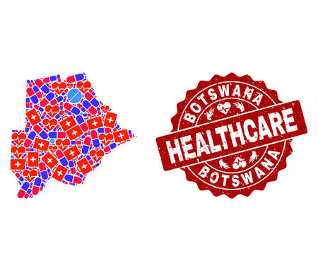 Healthcare composition of bright medical mosaic map of Botswana and grunge seal stamp. Vector red seal with grunge rubber texture and Healthcare caption.