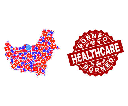 Healthcare collage of bright medical mosaic map of Borneo Island and corroded stamp. Vector red imprint with corroded rubber texture and Healthcare caption. Ilustrace