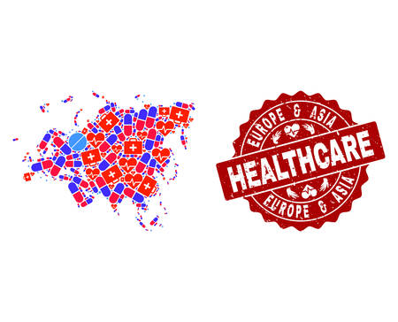 Healthcare composition of bright medical mosaic map of Europe and Asia and unclean seal. Vector red seal with unclean rubber texture and Healthcare caption.