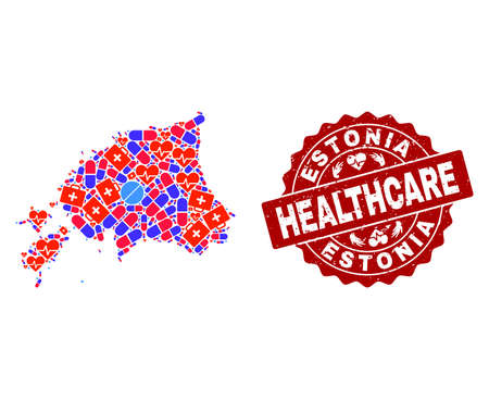 Healthcare composition of bright medical mosaic map of Estonia and unclean seal. Vector red seal with scratched rubber texture and Healthcare caption. 일러스트