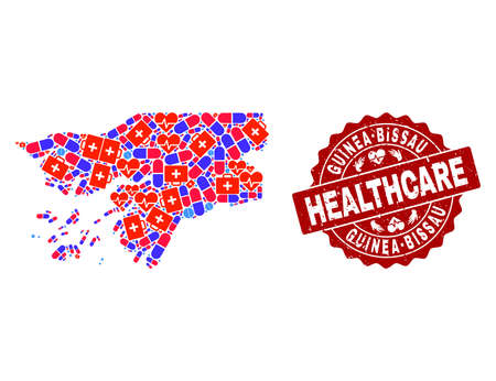 Healthcare composition of bright medical mosaic map of Guinea-Bissau and grunge seal. Vector red imprint with grunge rubber texture and Healthcare caption.