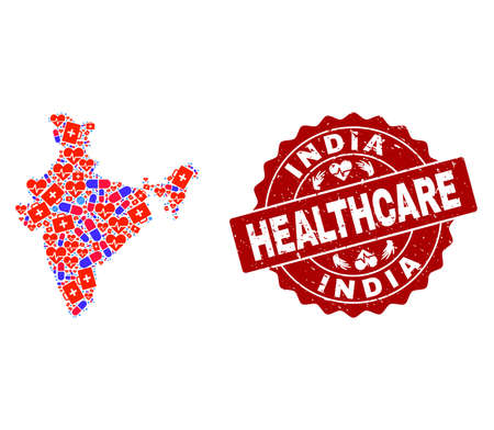 Healthcare collage of bright medical mosaic map of India and corroded seal stamp. Vector red watermark with corroded rubber texture and Healthcare caption. Çizim