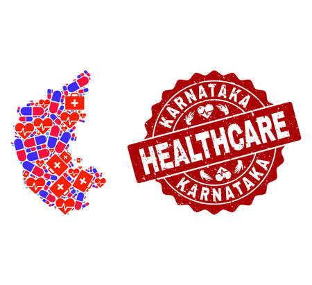 Healthcare collage of bright medical mosaic map of Karnataka State and scratched seal. Vector red seal with scratched rubber texture and Healthcare caption. Illustration