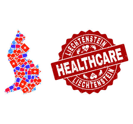 Healthcare composition of bright medical mosaic map of Liechtenstein and corroded stamp. Vector red seal with corroded rubber texture and Healthcare caption. Ilustrace