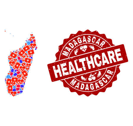 Healthcare combination of bright medical mosaic map of Madagascar Island and rubber seal. Vector red seal with unclean rubber texture and Healthcare caption.
