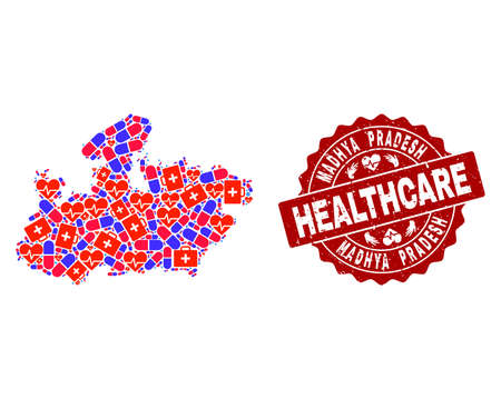 Healthcare collage of bright medical mosaic map of Madhya Pradesh State and corroded seal stamp. Vector red seal with scratched rubber texture and Healthcare caption.