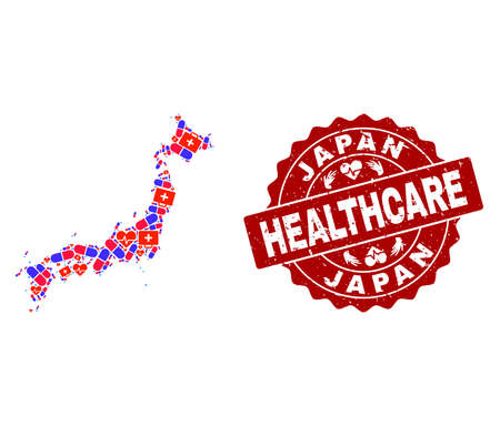 Healthcare combination of bright medical mosaic map of Japan and corroded seal stamp. Vector red seal with corroded rubber texture and Healthcare caption. Иллюстрация