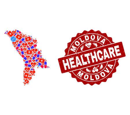 Collage de salud de brillante mapa de mosaico médico de Moldavia y sello de grunge. Marca de agua roja de vector con textura de goma grunge y título de salud.