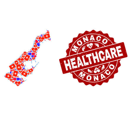 Healthcare composition of bright medical mosaic map of Monaco and dirty seal. Vector red seal with distress rubber texture and Healthcare caption.
