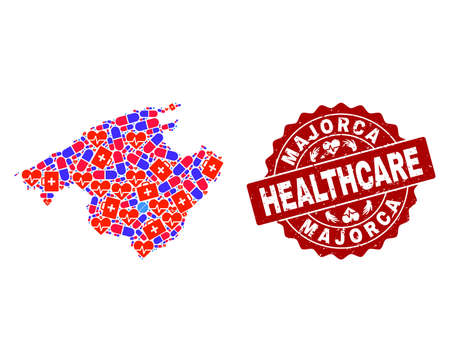 Healthcare composition of bright medical mosaic map of Majorca and corroded seal. Vector red seal with scratched rubber texture and Healthcare caption.