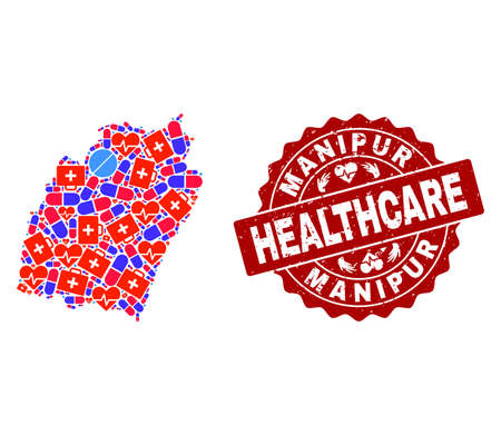 Healthcare combination of bright medical mosaic map of Manipur State and unclean seal. Vector red imprint with unclean rubber texture and Healthcare caption.