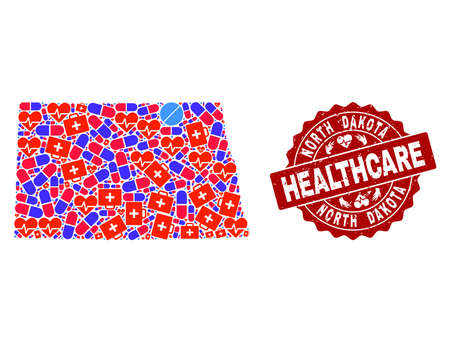 Healthcare combination of bright medical mosaic map of North Dakota State and corroded seal. Vector red seal with corroded rubber texture and Healthcare caption.