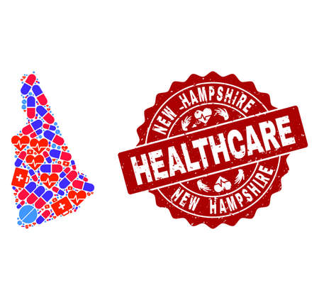 Healthcare collage of bright medical mosaic map of New Hampshire State and grunge seal stamp. Vector red seal with grunge rubber texture and Healthcare caption. Illustration